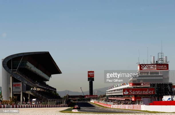Fernando Alonso of Spain and Ferrari drives during practice for the Spanish Formula One Grand Prix at the Circuit de Catalunya on May 11, 2012 in...
