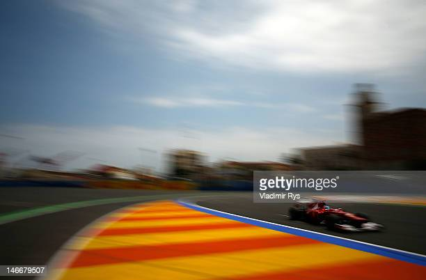 Fernando Alonso of Spain and Ferrari drives during practice for the European Grand Prix at the Valencia Street Circuit on June 22, 2012 in Valencia,...