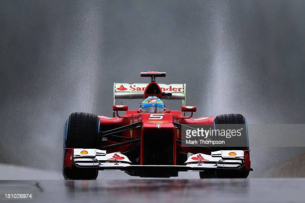 Fernando Alonso of Spain and Ferrari drives during practice for the Belgian Grand Prix at the Circuit of Spa Francorchamps on August 31, 2012 in Spa...