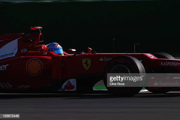 Fernando Alonso of Spain and Ferrari drives during practice for the Korean Formula One Grand Prix at the Korea International Circuit on October 12,...