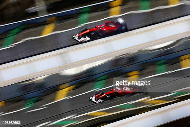 Fernando Alonso of Spain and Ferrari drives during practice for the Brazilian Formula One Grand Prix at the Autodromo Jose Carlos Pace on November...
