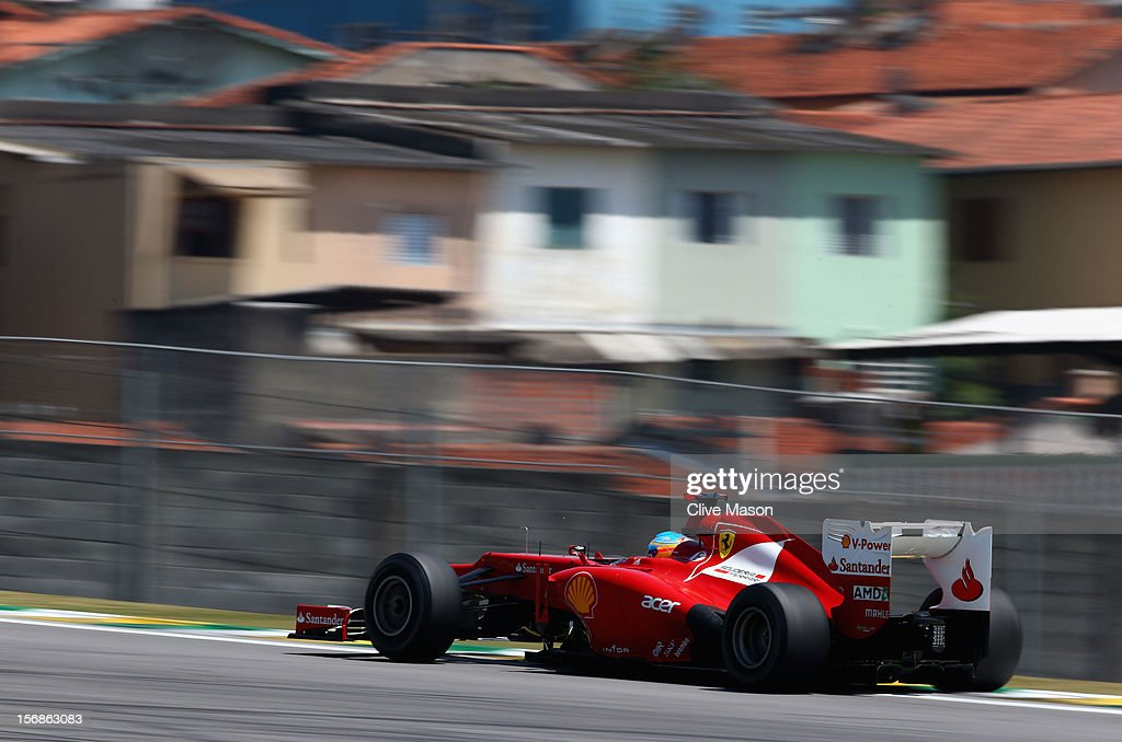 Fernando Alonso of Spain and Ferrari drives during practice for the Brazilian Formula One Grand Prix at the Autodromo Jose Carlos Pace on November 23, 2012 in Sao Paulo, Brazil.