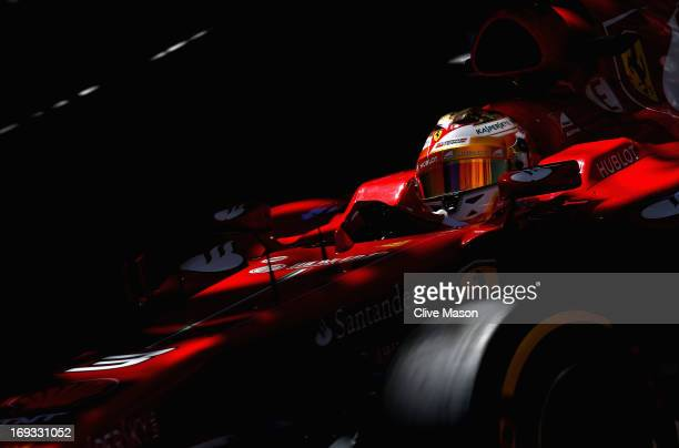 Fernando Alonso of Spain and Ferrari drives during practice for the Monaco Formula One Grand Prix at the Circuit de Monaco on May 23 2013 in...