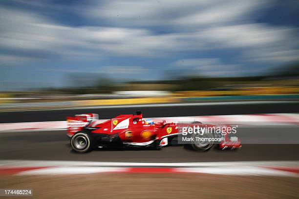 Fernando Alonso of Spain and Ferrari drives during practice for the Hungarian Formula One Grand Prix at Hungaroring on July 26 2013 in Budapest...