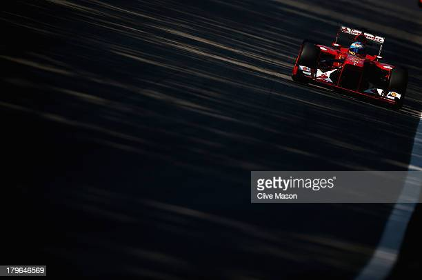 Fernando Alonso of Spain and Ferrari drives during practice for the Italian Formula One Grand Prix at Autodromo di Monza on September 6 2013 in Monza...