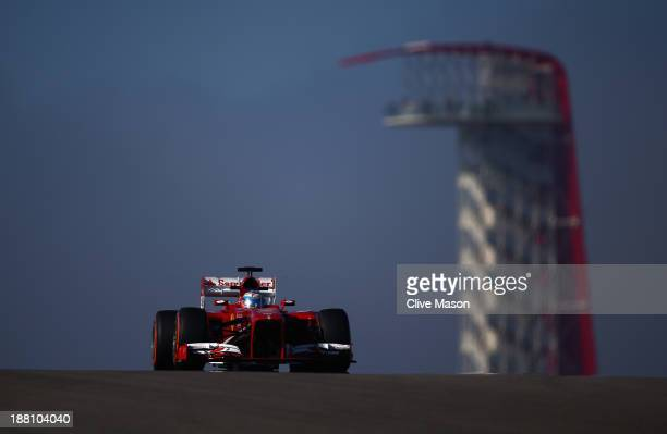 Fernando Alonso of Spain and Ferrari drives during practice for the United States Formula One Grand Prix at Circuit of The Americas on November 15...