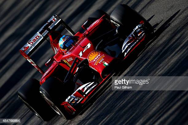 Fernando Alonso of Spain and Ferrari drives during Qualifying ahead of the F1 Grand Prix of Italy at Autodromo di Monza on September 6 2014 in Monza...
