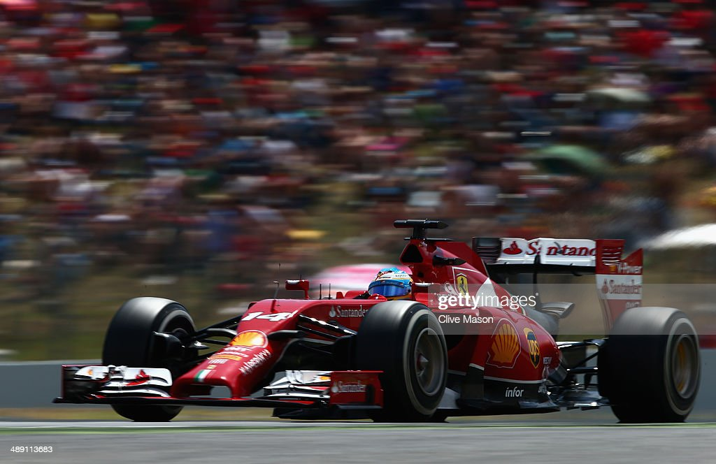 Fernando Alonso of Spain and Ferrari drives during qualifying ahead of the Spanish F1 Grand Prix at Circuit de Catalunya on May 10, 2014 in Montmelo, Spain.
