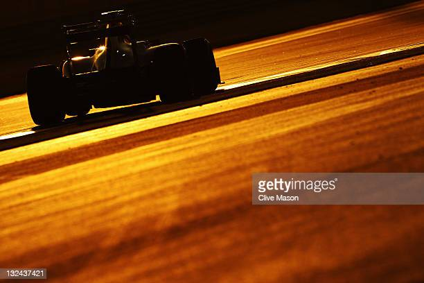 Fernando Alonso of Spain and Ferrari drives during qualifying for the Abu Dhabi Formula One Grand Prix at the Yas Marina Circuit on November 12, 2011...