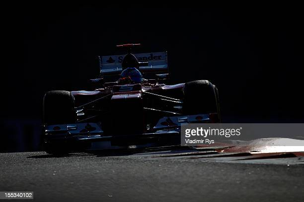 Fernando Alonso of Spain and Ferrari drives during qualifying for the Abu Dhabi Formula One Grand Prix at the Yas Marina Circuit on November 3, 2012...