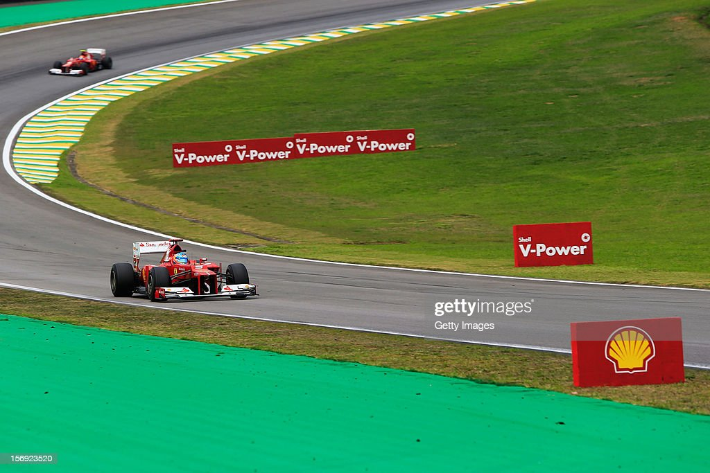 Fernando Alonso of Spain and Ferrari drives during qualifying for the Brazilian Formula One Grand Prix at the Autodromo Jose Carlos Pace on November 24, 2012 in Sao Paulo, Brazil.