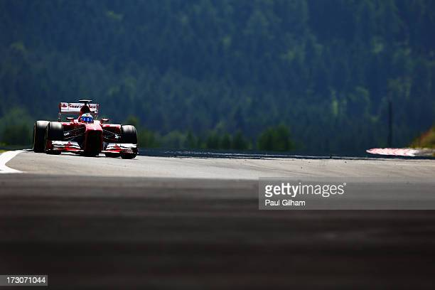 Fernando Alonso of Spain and Ferrari drives during qualifying for the German Grand Prix at the Nuerburgring on July 6, 2013 in Nuerburg, Germany.