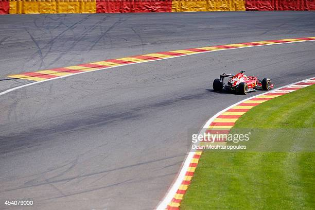 Fernando Alonso of Spain and Ferrari drives during the Belgian Grand Prix at Circuit de SpaFrancorchamps on August 24 2014 in Spa Belgium