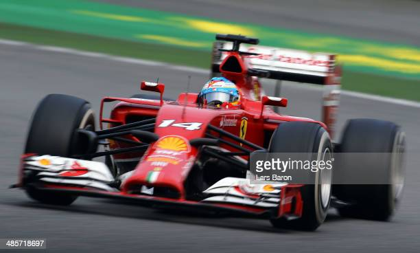 Fernando Alonso of Spain and Ferrari drives during the Chinese Formula One Grand Prix at the Shanghai International Circuit on April 20 2014 in...