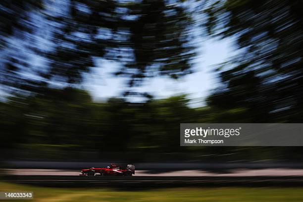 Fernando Alonso of Spain and Ferrari drives during the final practice session prior to qualifying for the Canadian Formula One Grand Prix at the...