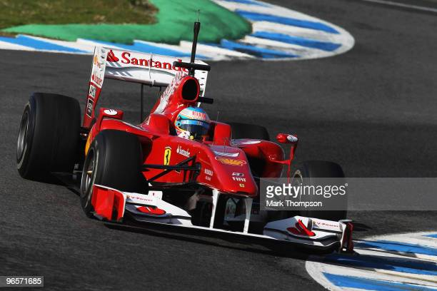 Fernando Alonso of Spain and Ferrari drives during winter testing at the Circuito De Jerez on February 11 2010 in Jerez de la Frontera Spain