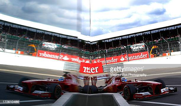 Fernando Alonso of Spain and Ferrari drives his Ferrari F138 during practice prior qualifying for the British Formula One Grand Prix at Silverstone...