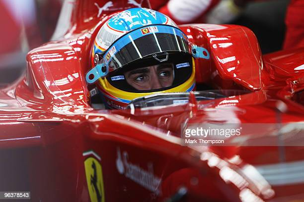 Fernando Alonso of Spain and Ferrari drives the new F10 for the first time during winter testing at the Ricardo Tormo Circuit on February 3, 2010 in...