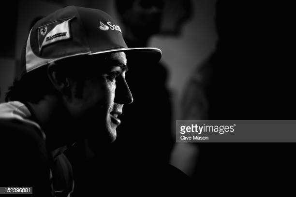 Fernando Alonso of Spain and Ferrari in interviewed by the media at the Pan Pacific Hotel during previews to the Singapore Formula One Grand Prix on...