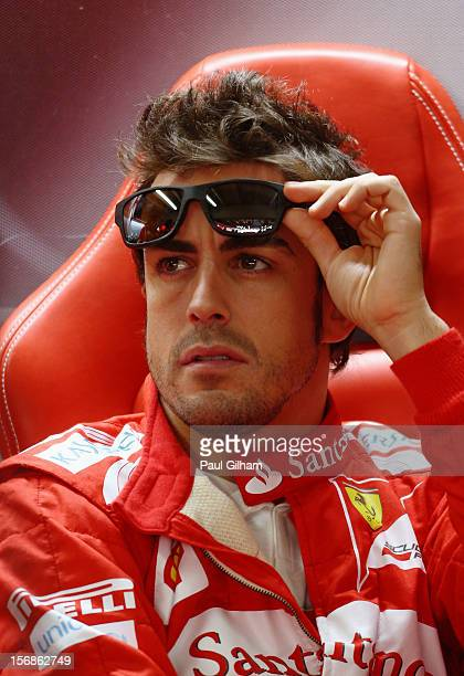 Fernando Alonso of Spain and Ferrari prepares to drive during practice for the Brazilian Formula One Grand Prix at the Autodromo Jose Carlos Pace on...