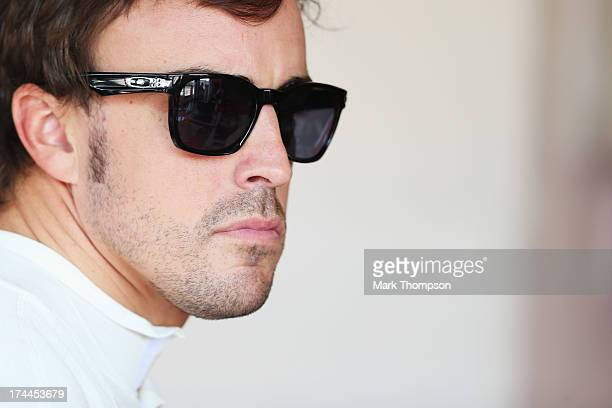 Fernando Alonso of Spain and Ferrari prepares to drive during practice for the Hungarian Formula One Grand Prix at Hungaroring on July 26 2013 in...