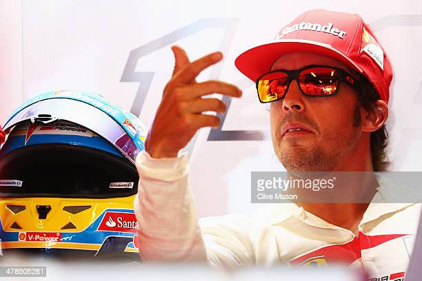 Fernando Alonso of Spain and Ferrari prepares to drive during practice for the Australian Formula One Grand Prix at Albert Park on March 14 2014 in...