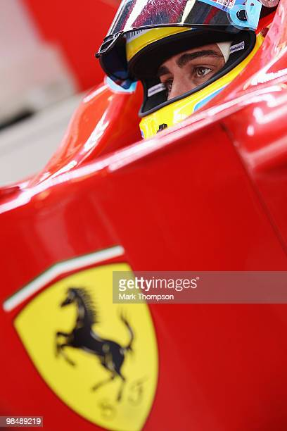 Fernando Alonso of Spain and Ferrari prepares to drive during practice for the Chinese Formula One Grand Prix at the Shanghai International Circuit...
