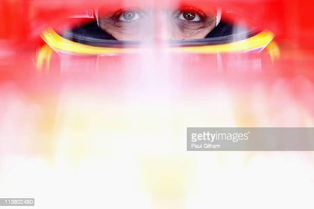 Fernando Alonso of Spain and Ferrari prepares to drive in the wet conditions during practice for the Turkish Formula One Grand Prix at the Istanbul...