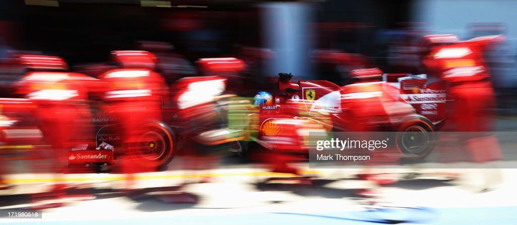 Fernando Alonso of Spain and Ferrari stops for a pitstop during the British Formula One Grand Prix at Silverstone Circuit on June 30, 2013 in Northampton, England.