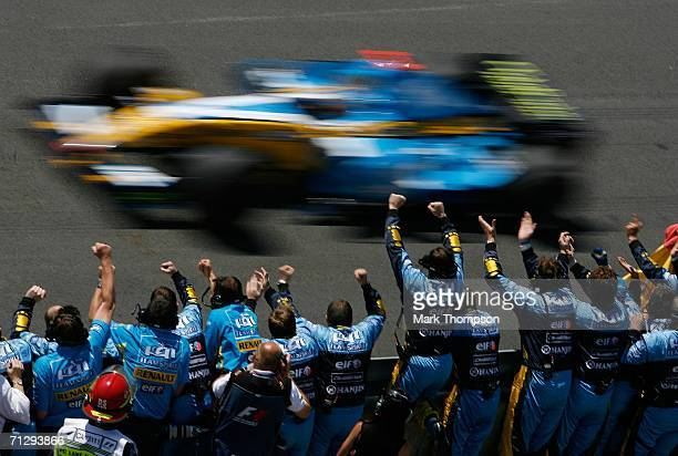 Fernando Alonso of Spain and his Renault team celebrates after winning the Canadian Formula One Grand Prix at the GillesVilleneuve Circuit on June 25...