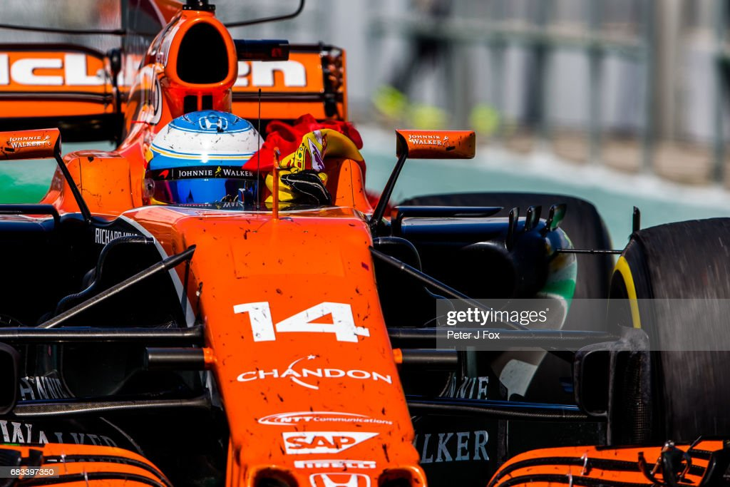 Fernando Alonso of Spain and McLaren during the Spanish Formula One Grand Prix at Circuit de Catalunya on May 14, 2017 in Montmelo, Spain.