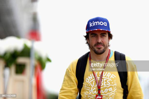 Fernando Alonso of Spain and McLaren F1 arrives at the circuit during previews ahead of the Formula One Grand Prix of Great Britain at Silverstone on...