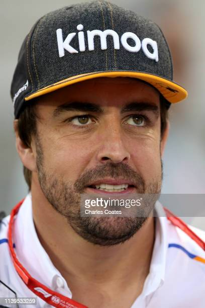Fernando Alonso of Spain and McLaren F1 looks on during the F1 Grand Prix of Bahrain at Bahrain International Circuit on March 31, 2019 in Bahrain,...