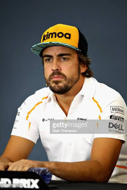 Fernando Alonso of Spain and McLaren F1 looks on in the Drivers Press Conference during previews ahead of the Formula One Grand Prix of Belgium at...