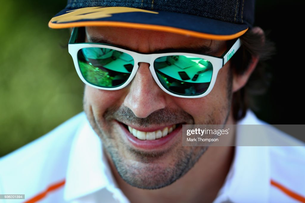 Fernando Alonso of Spain and McLaren F1 looks on in the Paddock during previews ahead of the Australian Formula One Grand Prix at Albert Park on March 22, 2018 in Melbourne, Australia.