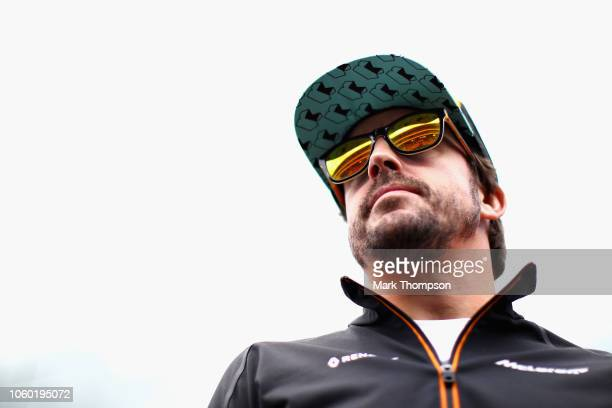 Fernando Alonso of Spain and McLaren F1 looks on, on the drivers parade before the Formula One Grand Prix of Brazil at Autodromo Jose Carlos Pace on...