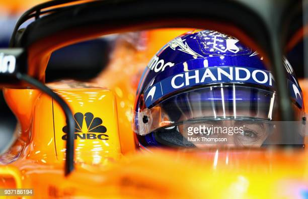 Fernando Alonso of Spain and McLaren F1 prepares to drive in the garage during final practice for the Australian Formula One Grand Prix at Albert...