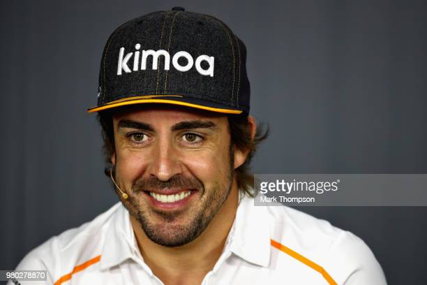 Fernando Alonso of Spain and McLaren F1 smiles in the Drivers Press Conference during previews ahead of the Formula One Grand Prix of France at...