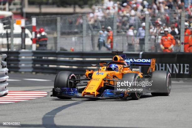 Fernando Alonso of Spain and McLaren F1 Team on track during practice for the Monaco Formula One Gran Prix