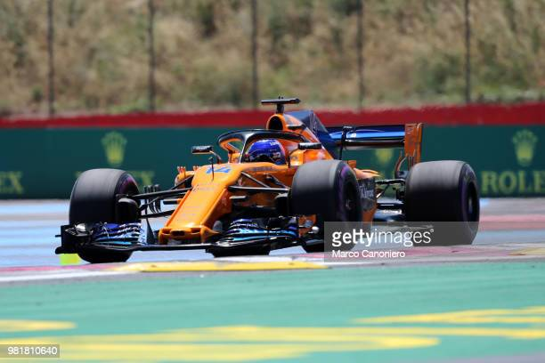 Fernando Alonso of Spain and McLaren F1 Team on track during practice for the Formula One Gran Prix de France