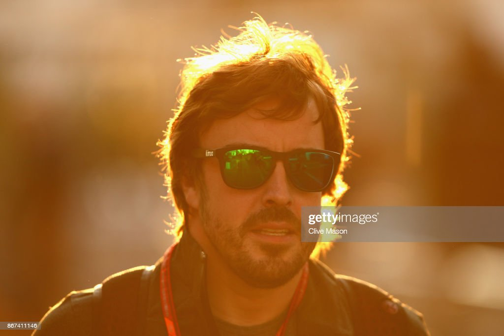Fernando Alonso of Spain and McLaren Honda arrives at the circuit before final practice for the Formula One Grand Prix of Mexico at Autodromo Hermanos Rodriguez on October 28, 2017 in Mexico City, Mexico.