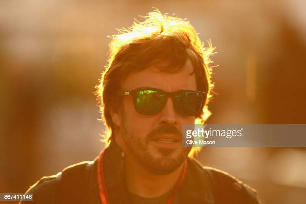 Fernando Alonso of Spain and McLaren Honda arrives at the circuit before final practice for the Formula One Grand Prix of Mexico at Autodromo...