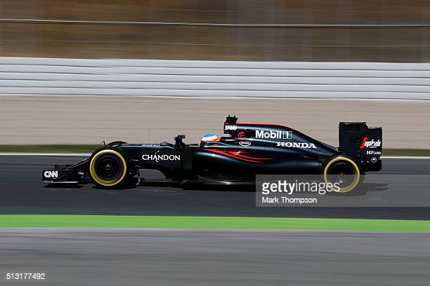 Fernando Alonso of Spain and McLaren Honda drives during day one of F1 winter testing at Circuit de Catalunya on March 1 2016 in Montmelo Spain