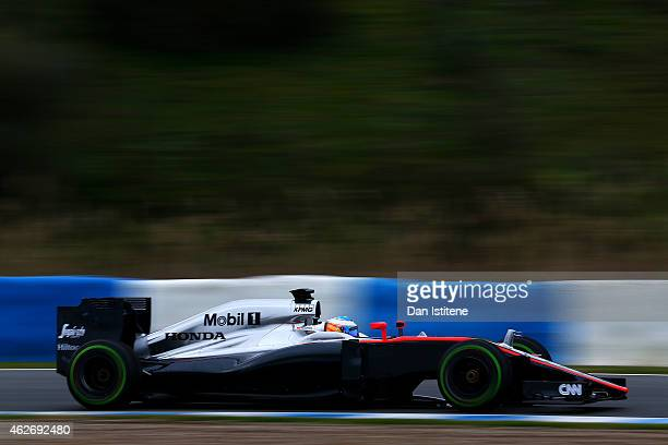 Fernando Alonso of Spain and McLaren Honda drives during day three of Formula One Winter Testing at Circuito de Jerez on February 3, 2015 in Jerez de...