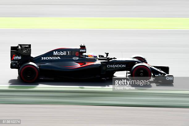 Fernando Alonso of Spain and McLaren Honda drives during day three of F1 winter testing at Circuit de Catalunya on March 3 2016 in Montmelo Spain