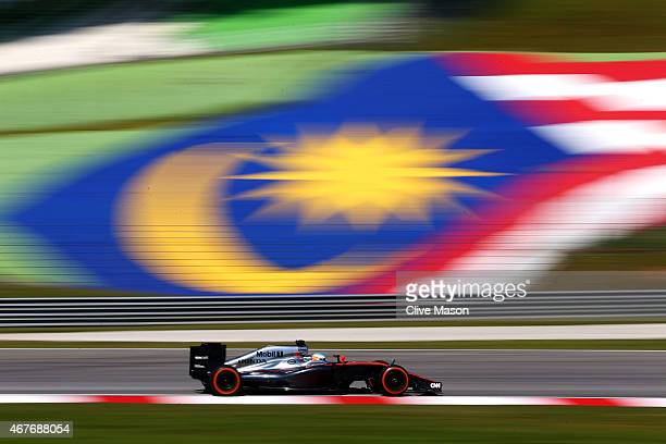 Fernando Alonso of Spain and McLaren Honda drives during practice for the Malaysia Formula One Grand Prix at Sepang Circuit on March 27 2015 in Kuala...