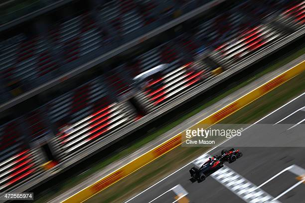 Fernando Alonso of Spain and McLaren Honda drives during practice for the Spanish Formula One Grand Prix at Circuit de Catalunya on May 8, 2015 in...
