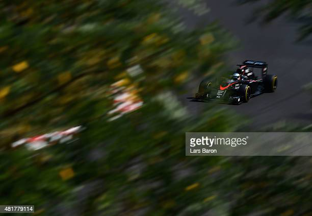 Fernando Alonso of Spain and McLaren Honda drives during practice for the Formula One Grand Prix of Hungary at Hungaroring on July 24 2015 in...