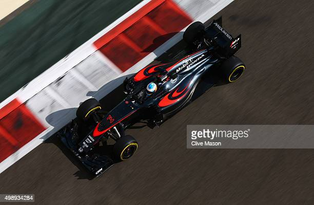 Fernando Alonso of Spain and McLaren Honda drives during practice for the Abu Dhabi Formula One Grand Prix at Yas Marina Circuit on November 27 2015...