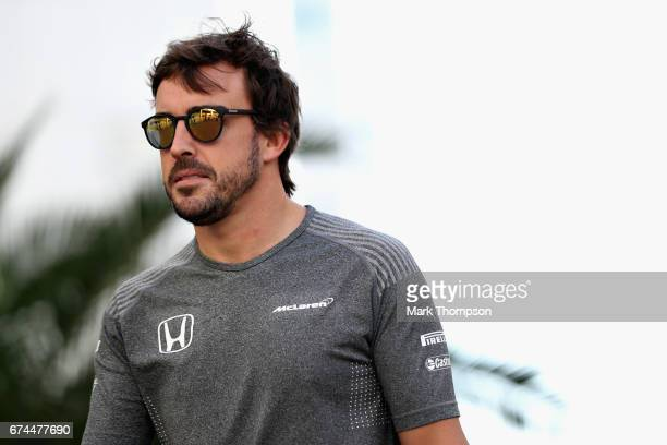 Fernando Alonso of Spain and McLaren Honda during practice for the Formula One Grand Prix of Russia on April 28 2017 in Sochi Russia